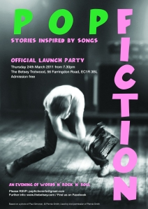 pop fiction launch party flyer
